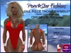 Porn*Star Fashions RED One Piece Thong Swimsuit with OMEGA & SLINK appliers