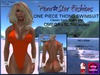 Porn*Star Fashions ORANGE One Piece Thong Swimsuit with OMEGA & SLINK appliers