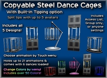 Copyable Steel Dance Cages - optional built-in Tip Jars and % Splitting - 5 Designs included