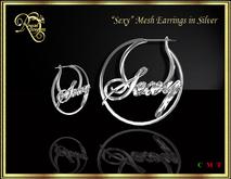 "RJ Mesh ""Sexy"" Hoop Earrings (Silver)"