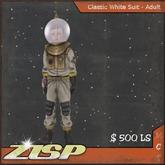 .:ZiSP:. White Classic Spacesuit (Adult Size)