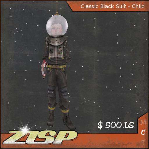 .:ZiSP:. Black Classic Spacesuit (Kids Size-V2)