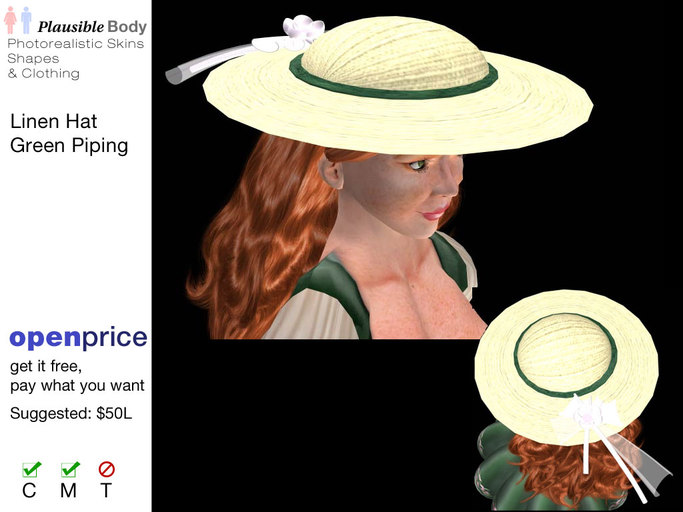 Linen Hat with Bow and Green Piping