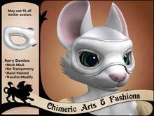 Furry Domino Mask - White