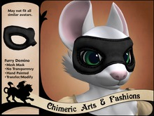Furry Domino Mask - Black