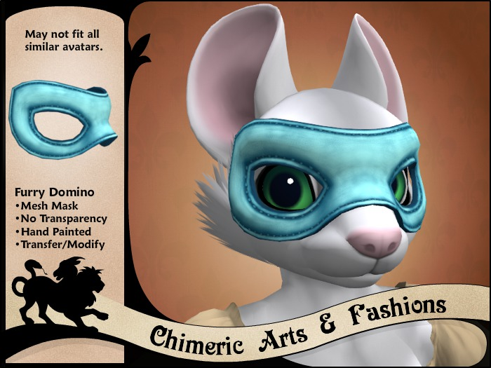Furry Domino Mask - Blue