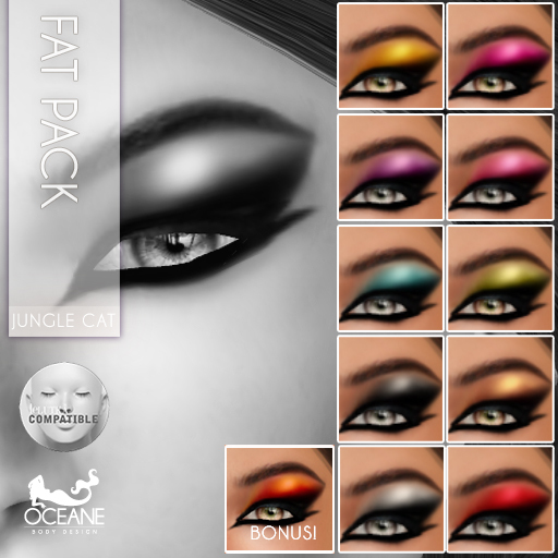 Outlet Oceane - Fat Pack Jungle Cat Eyeshadows Lelutka MESH