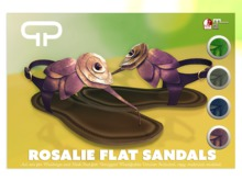 Pure Poison - Rosalie Flat Sandals - Ad-ons for Maitreya and Slink Flat Feet - Unrriged Version Included