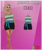 .::f  tiche petite::. Mesh Romper blue stripes