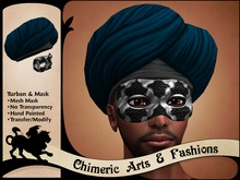 Turban & Metal Mesh Mask (Silver)