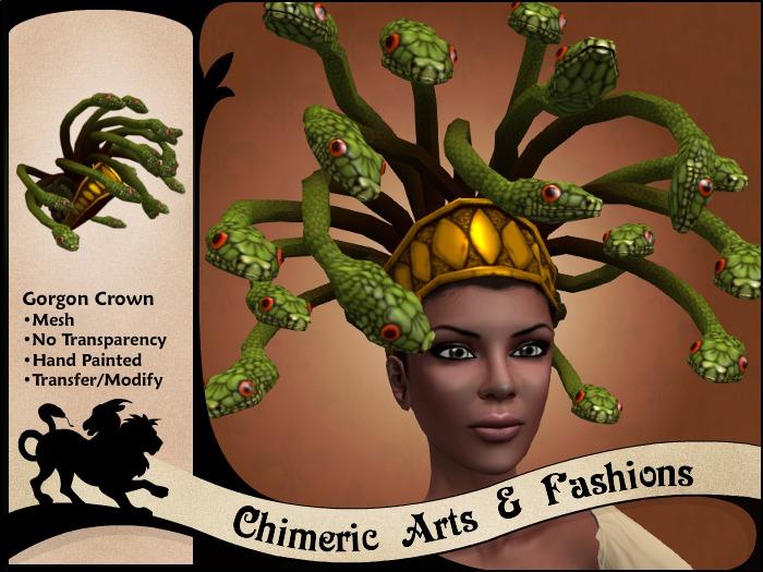 Medusa Gorgon Wig & Crown (Green & Gold)