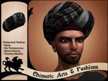 Patterned Turban (Silver & Black)