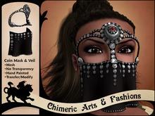 Coin Mask & Veil (Silver & Black)