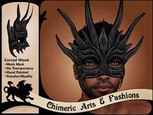 ~Chimeric Fashions~ Carved Wood Mask (Black)