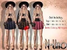 N-Uno Store - Skirt & Top - Summer Day -BLACK FREE GIFT