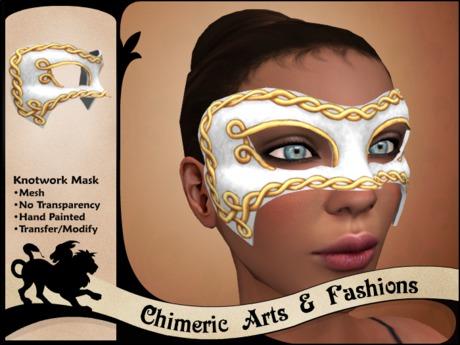 Knotwork Mask (White & Gold)