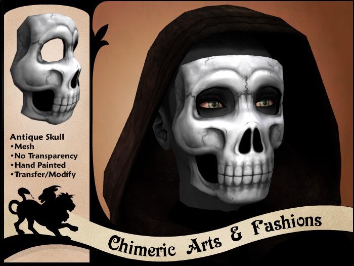 Antique Skull Mask (Black & White)