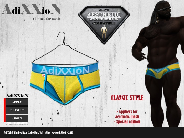 Second Life Marketplace Aesthetic Adixxion Brief Swimmer Classic Blue Yellow
