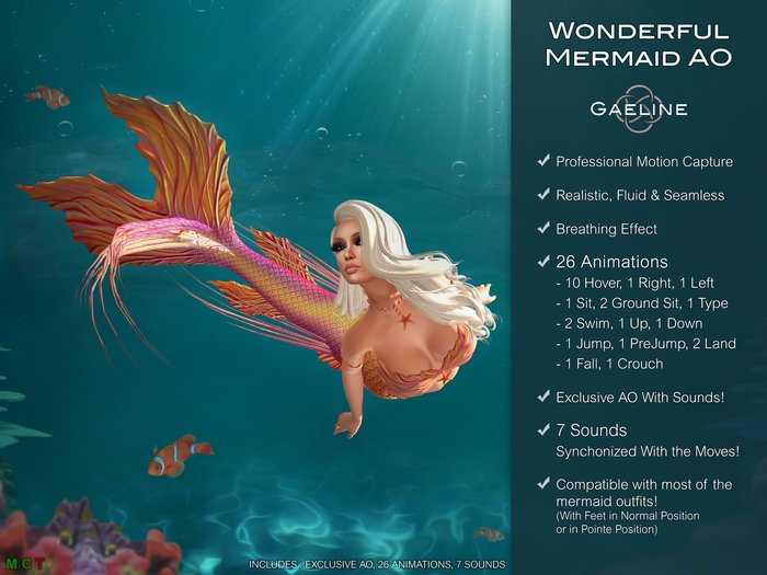 Gaeline Animations - Wonderful Mermaid AO : express your charm and sensuality !