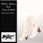 Western Fashion Cowgirl boots White & Pink
