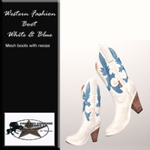 Western Fashion Cowgirl boots White & Blue