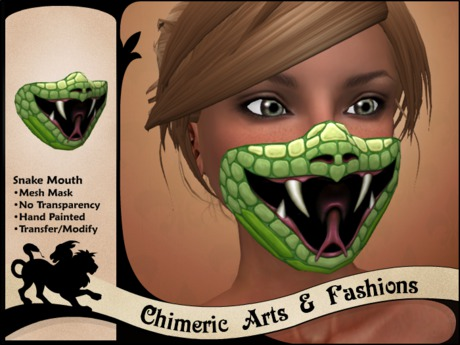 ~Chimeric Fashions~ Snake Mouth Mask (Green)