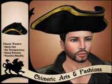 Classic Tricorn Hat (Black & Gold)