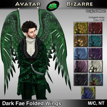 AB Dark Fae Wings Folded with Color HUD
