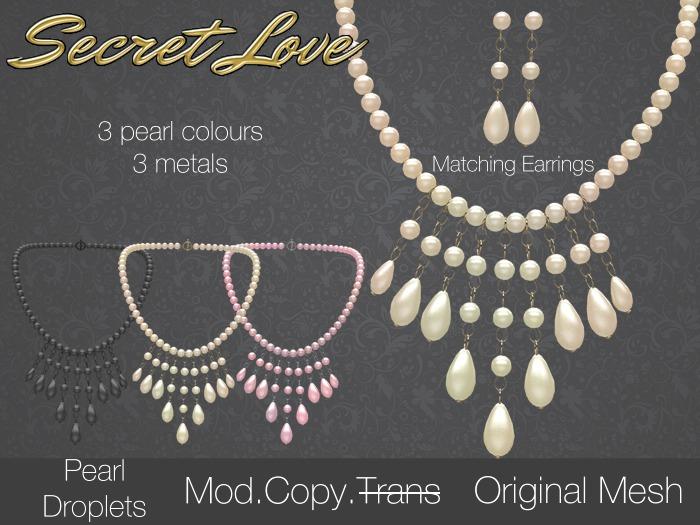 {Secret Love} Pearl Droplets - Set (Original Mesh)