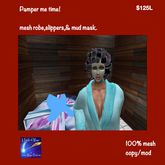 Female Robe slippers rollers mud mask BLUE (boxed)