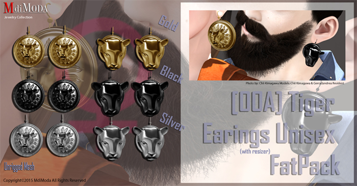 MdiModa - [00A] Earings Tiger Unisex FatPack