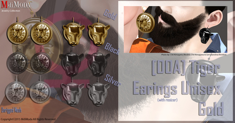 MdiModa - [00A] Earings Tiger Unisex Gold