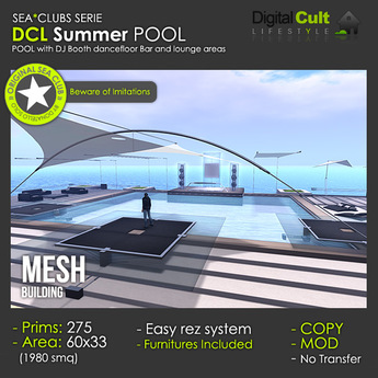 DCL Summer pool with Dj booth and dancefloor
