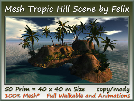 Mesh Tropic Hill Scene 50 Prim=40x40m Size copy-mody