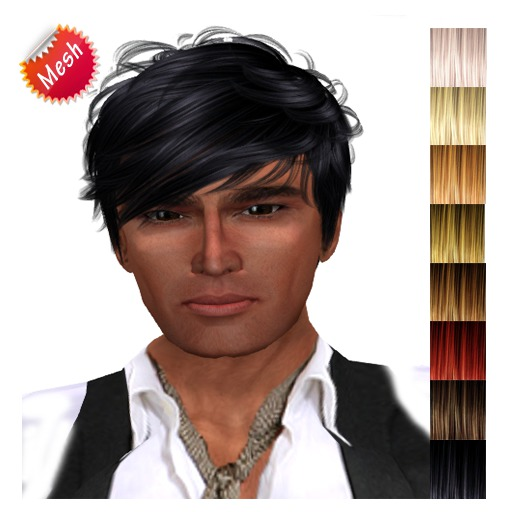 """edeLsToRe man mesh hair """" Chang """" all colors (Special Rigged Fitted Mesh Hair)"""