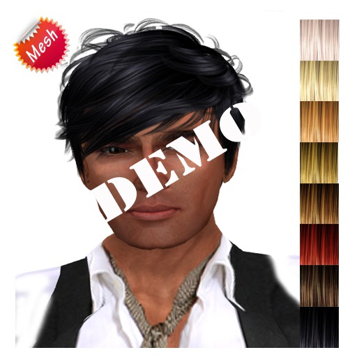"""DEMO edeLsToRe man mesh hair """" Chang """" all colors  DEMO (Special Rigged Fitted Mesh Hair)"""