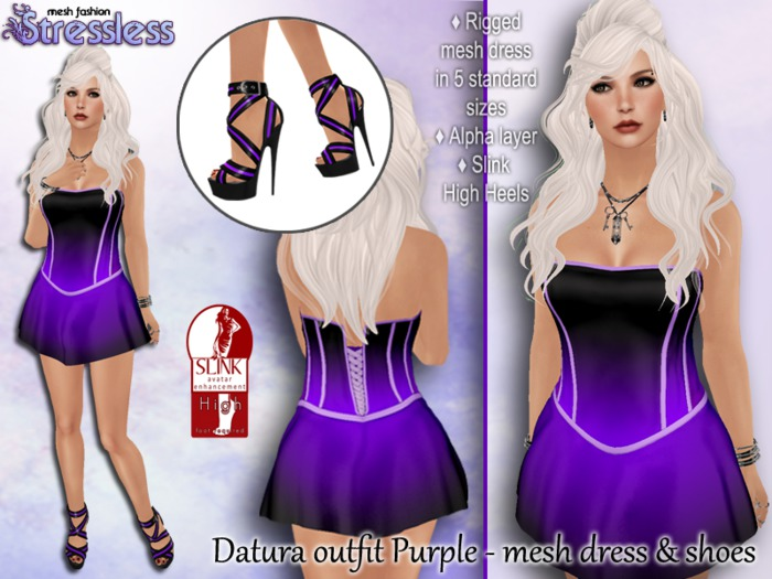 Stressless - Datura outfit - Purple {Rigged mesh mini dres and heels for slink high feet}