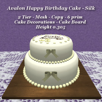 Remarkable Second Life Marketplace Avalon Happy Birthday Cake 2 Tier Silk Birthday Cards Printable Nowaargucafe Filternl