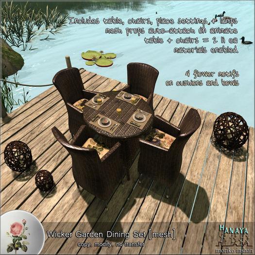 -Hanaya- Wicker Garden Dining Set [mesh]