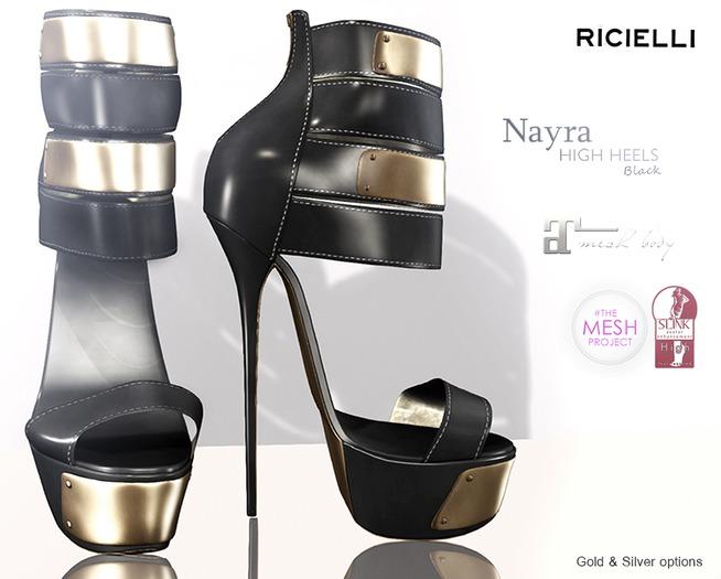 R.icielli NAYRA Heels for TMP, Maitreya, Eve and Slink Black