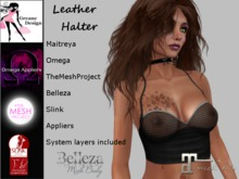 GreaneDesign Leather Halter - Black Sheer - boxed - Omega, TMP, Slink, Belleza and Maitreya Appliers [Wear/add to unpack