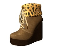 [M&B] *GIFT*  Wedge Ankle Mesh Boots Light Brown
