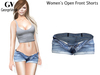 Full Perm Rigged Mesh Women's Open Front Shorts