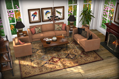 Sienna Linen and Distressed Wood Living Set MESH