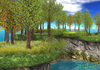 21strom: Shores/River Banks - Oak Forest Spring - Mesh Shore Landscape with Wind Effect, Animated Water