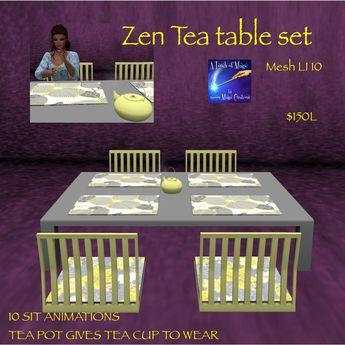 Zen tea table set mesh (crate)