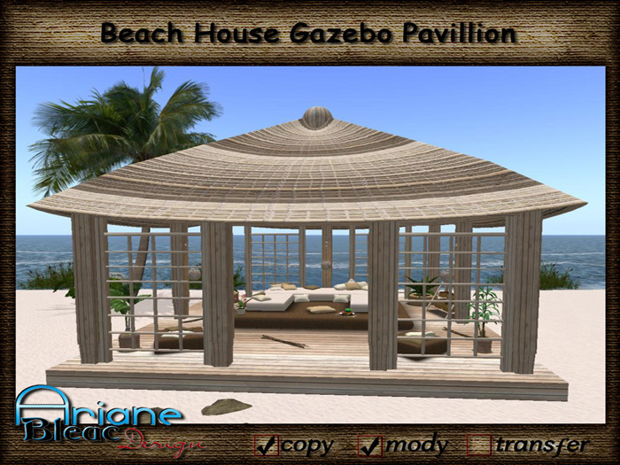 Beach House Gazebo / Pavillion with Furniture, Plants & Deco