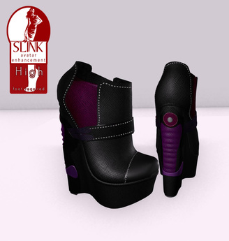 .: MB :. SLINK HIGH  ~ Cyber Platform Ankle Boots  BLACK