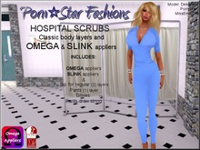 Porn*Star Fashions WOMENS BLUE Hospital Scrubs with OMEGA & SLINK appliers