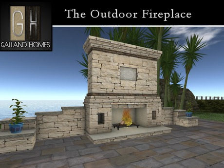 Outdoor Fireplace by Galland Homes